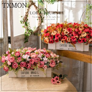 TXMON americano Flor Artificial Cerca de madeira decoração falsificação flor Sala Varanda Coffee Table Início Bouquet Set vaso T200703