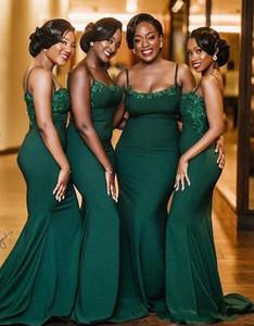 2020 Green South African Black Girls Bridesmaid Dresses Robe Spaghetti Straps Mermaid Hunter Green Satin Long Wedding Party Dress
