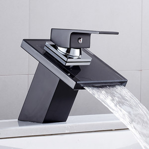 Bathroom Waterfall Led Faucet Glass Waterfall Brass Basin Faucet Bathroom Mixer Tap Deck Mounted basin sink Mixer Tap