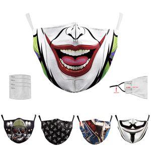 10pcs Homens Mulheres Máscara Impressão Halloween Digital 2 camadas Máscaras Adulto Masquerade Party cara Joker reutilizável Anti-fog Cosplay Mascherine