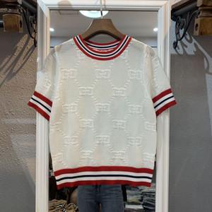 2019 yeni moda kadın kolej tarzı kısa kollu o-boyun renk blok örme logo mektup jakarlı örgü kazak üst gömlek oymak