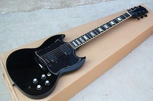Toda preta do SG Guitarra elétrica com EMG Pickgups, Chrome Hardwares, Black Tunners e corpo branco, Flowerpot embutimento, pode ser personalizado.