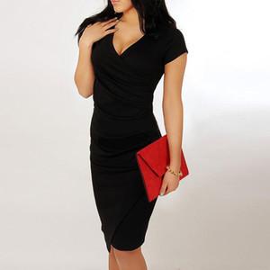Süßigkeit-Farbe Irregular bobydone Kleid mit Rüschen besetzt mit V-Ausschnitt Buttock Rock asymmetrische kurze Hülse Hüfte Wickelkleider Sommer Frauen Kleider