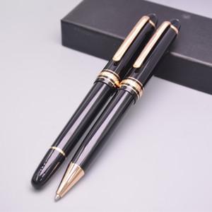 Promoción de lujo Meistersteks 145 negro resina oro plata Clip Roller Ball Pen bolígrafo escuela Oficina suministro con Monte número de serie