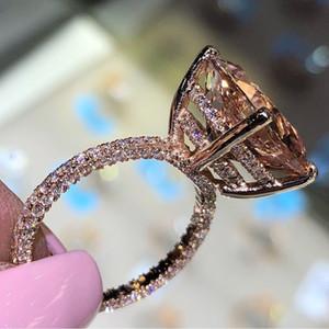 Brillant Big Champagne Zircon Bagues de femmes uniques Les trois côtés de cristal d'or de fiançailles de mariage de luxe Bijoux Bague Accessoires