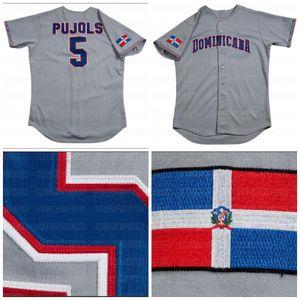 5 Альберт Pujols Игры Выпущено Доминиканская Республика 2006 World Baseball Classic Дорога на заказ серого Джерси Быстрой доставки