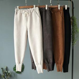 Pantalones Joggers Harem de invierno del ante mujeres de la alta cordón de la cintura Mujeres Pantalones 2019 Otoño floja ocasional pantalón Mujer V191111
