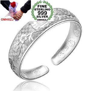 OMHXZJ Wholesale mode elstern plum blossom frau kpop stern Feine 999 Sterling Silber öffnung einstellbar armband Bangles SZ23