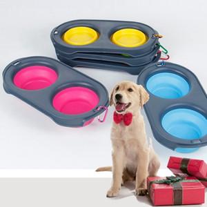 Cuenco de perro mascota doble silicona plegable cuencos con mosquetón plegable mascota gato comida agua alimentación Toool perro suministros 4 colores WZW-YW3607