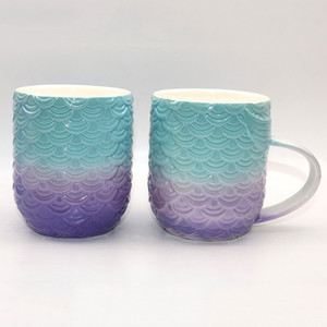 Dream Fish Tail Mug Colorful Mermaid Modeling Ceramic Cup Bloques de Color Púrpura Verde Tazas Nueva Llegada 17 2fg L1