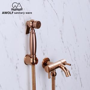Ручной опрыскиватель Биде Rose Gold Solid Brass Douche Kit Туалет Shattaf Dual Control Медный клапан кран насадка для душа AP2184