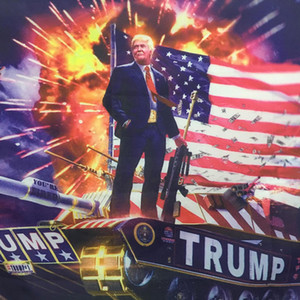 Hanging 90*150cm Digital Print Donald Trump On The Tank Flag Printing Trump Hanging 3x5ft Large Decor Flag Trump Tank Banners DH1033 T03