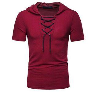 2019 estate top slim fitness t shirt uomo casual con cappuccio tshirt uomo sportswer pizzo harajuku t-shirt manica corta tee maschile camisetas hombre