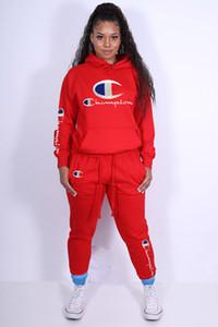 2020 NEW Женщины Спорт Tracksuit руно пуловер с капюшоном Брюки 2 шт две женщины Набор техники Повседневный женский Пот Подходит размер S-XXXL