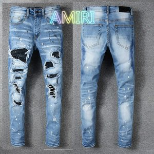2020 designer france street tide AMIR Amiri High Street hip-hop brand jeans hole washed blue jeans embroidery European and American # 563