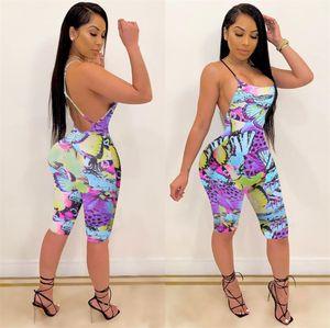 Sommer-Frauen Strapse Jumpsuits Backless String Body Shorts Enge Shorts Ärmel Low Back Vest Strampler Nachtclub Bodysuits LY803