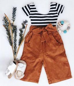2019 çocuk kız elbise ayarlamak bahar sonbahar çocuk giyim setleri kısa kollu t shirt + pantolon yüksek bel 2pieces eşofman