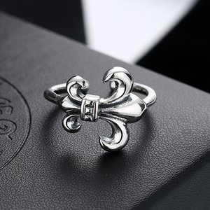 Thai Silver Personality Ring Classic Anchor Simple Ring Opening Retro Distressed Scout Flower Men and Women Ring