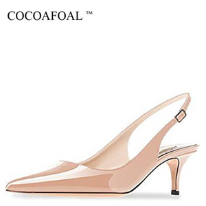 Cocoafoal Summer Women's Sandals Woman High Heels Shoes Sexy Low Heel Shoes Summer Women's Sandals Black Red Green Wedding Pumps Y190704
