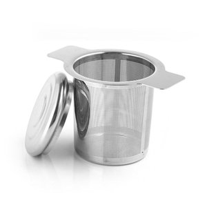 stee inoxidável infusor de chá de malha cesta do filtro solto folha SS304 tempero filtro bule fina vazamento de malha grande com tampa