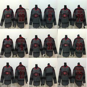 Camisola de hóquei do Montreal Canadiens Charcoal Grey # 31 Preço Carey 4 Jean Beliveau 9 Henri Richard 11 Camisolas de hóquei do Brendan Gallaghe