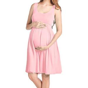 GAOKE Maternity Dresses Maternity Clothes Pregnancy Dress Casual Sleeveless Pregnancy Clothes O-Neck Dress