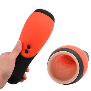Oral Copa Masturbador Garganta profunda 3D eléctrico automático de la vagina que aspira el 30 de velocidad Masturbator masculino juguete vibrador del sexo para los hombres adultos Y191011