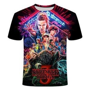 3D Tişört Camiseta Tişörtlü Sıcak Kid Tv Erkekler Çocuklar 3 Kol Kısa Stranger Tişört Serisi Baskılı şeyler Moda Kdonv Tops