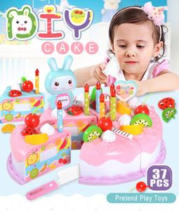 37pcs Protend Play Fruit Cutting Birthday Die Kitchen Toys Kake Food boys Girls Gift For Children Educational Baby kids