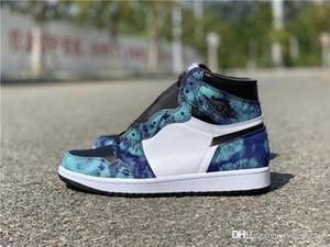 2020 Zapatos auténticos de aire 1 de alta OG WMNS teñido anudado de cuero baloncesto Hombres Mujeres Blanco Negro Verde Aurora Formadores zapatillas de deporte con la caja original