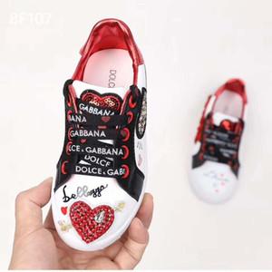 Sapatilha do menino sapato coração branco projeto garoto correr sapato para o menino menina vestido menina sapato basquete de couro sapato Eu 26-35