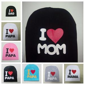 I love mom and dad themed children's hats elastic warm hats cotton soft head cap T3I5169-1