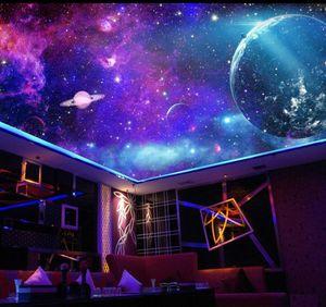 판타지 다채로운 은하 별이 빛나는 성운 방 천장 그림 천장 배경 화면 3D 벽화