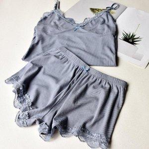 Zwei Stück Baumwolle Pyjama Set Sexy Spitzen-Top und Shorts Pyjamas Spaghetti-Bügel-Nachtwäsche hohe elastische Pijama Negligés Startseite Kleidung