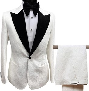 Mens Men's Suits & Blazers Men's Clothing Suits Collar 2 Pieces Slim Fit White Lilac Printed Suit Groom Jacket Tuxedos for Wedding Dress Eve