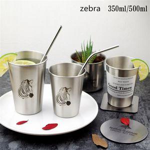 350ml 500ml 스테인레스 텀블러 INS 스타일 칫솔 커플 컵 싱글 레이어 맥주 텀블러 Simple Industrial Flamingo 냉수 머그컵