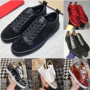 2020 Designer Sneakers fondo è rosso scarpa Low Cut camoscio a spillo scarpe per uomo e donna di lusso scarpe da festa di nozze di cristallo rivetto Sneaker