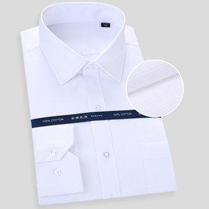 Grevol Robe solide base hommes longue chemise blanche d'affaires formel manches Hauts rayé Chemises Bureau du travail social Porter colthes