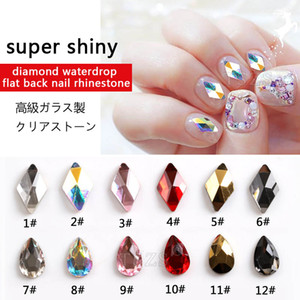 15pcs / lot Flatback Diamond Water Drop Rhinestones DIY Daily Art Glass Stones 3D Nail decoration