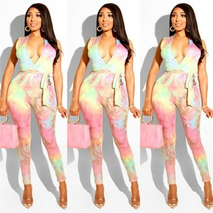 Art- und Weisesommer-Frauen-V-Ausschnitt-Overall-Dame Sexy Sleeveless Tie-dyed Strampler Clubwear Hoher Taillen-Gurt Dünne Frauen-Overalls S-XL