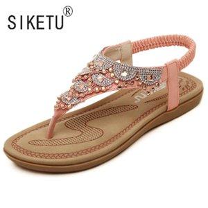 2017 zapatos de las mujeres del verano nuevas de la manera de Bohemia sandalias de diamantes de imitación Ocio Playa 35-40 SIKETU
