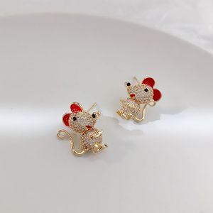 Kore versiyonu lüks zirkon fare küpe takı moda trendi 18k altın yabani Earrings kadınlık sevimli güzellik küpe hediye takı kaplama