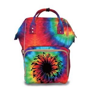Fralda Cuidados Tie Dye Diaper Bag Atacado Blanks do arco-íris do bebê Mummy Saco Grande Capacidade girassol Backpack Travel Bag DOM1333