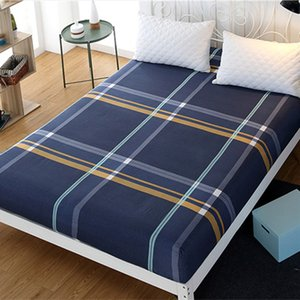 Queen Fitted Sheet Plaid Bed Sheet Microfiber Fabric Polyester Mattress Cover Bed with Elastic Fitted King Size