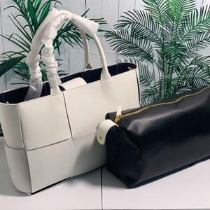 Grande capacità della confezione Tote sacchetto della signora Handbags Purses della pianura di modo Crochet Plaid Donne Borsello in pelle bovina genuina