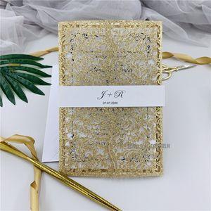 Glitter Kişisel takın Göbek Band ile Glitter Pembe Altın Lazer Kesim Düğün Davetiyesi, Çiçek Düğün Davet