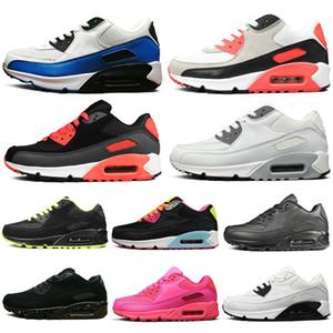 İNike Air Max 90 Shoes airmax ndirim Koşu Ayakkabıları Erkekler Kadınlar Için Üçlü Siyah Beyaz Pembe Mavi Gri Siyah Croc Kızılötesi Erkek Moda Eğitmen Açık Spor Sneaker 36-4