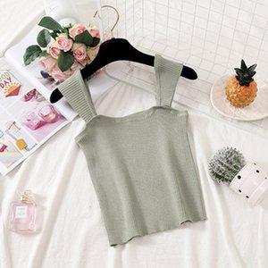 Strick Sling Vest weiblich 2019 Sommer neue koreanische Frauen-Pullover Damenbekleidung Studentenkurz Pullover Thema J Schultergurt elastische beiläufige