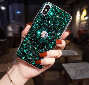 Luxury full diamond protective case silicone anti-drop protective case holder mobile phone case is suitable for apple and samsung phones