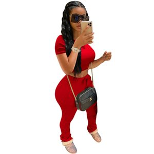 Women Summer Two Piece Pants Short Sleeve Slim 2 Piece Tracksuit Outfit Casual Sexy Bodycon Top Pants Set